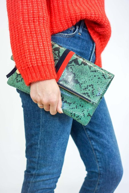 Clare V. Foldover Clutch - Green Snake/Navy/Red Stripe
