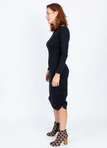 A. Oei Draped Neck Dress - BLACK