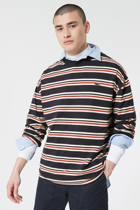 Kitsune Tee Shirt Long Sleeves Stripes - Mustard