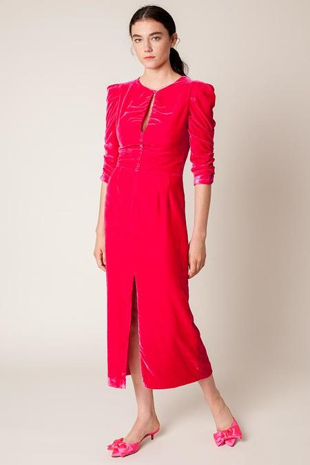 Rachel Antonoff Margaret Velvet Tea Dress - Hot Pink