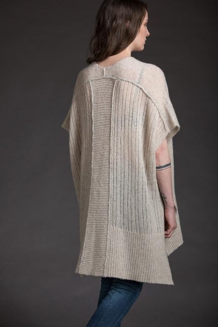Paychi Guh Cashmere/Silk V-Neck Poncho - Jute/Mist