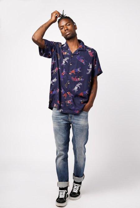 RAGA MAN Short sleeve Camp Collar Shirt - Panther