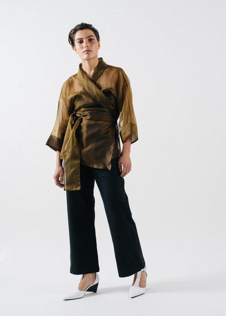REIFhaus Ramona Wrap Silk Organza Blouse - Bronze