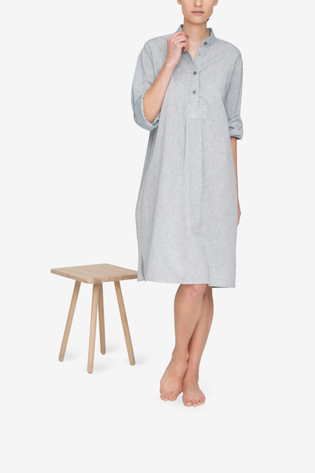 AMM x The Sleep Shirt Linen Blend Long Sleep Shirt - Smoke