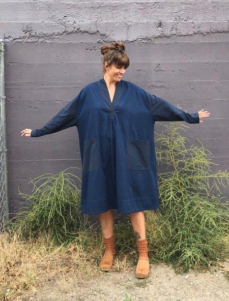 Sunja Link Mixed Pullover Dress - Indigo