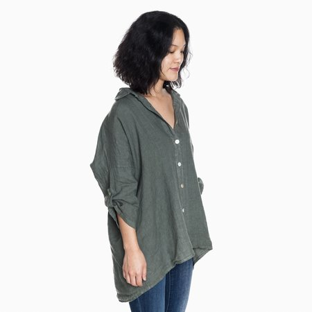 Poketo Orimono Linen Button Down Shirt - Green