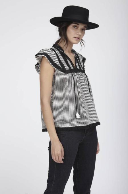 Love Sam Hailey Stripe Short Sleeve Top - Black/Ivory