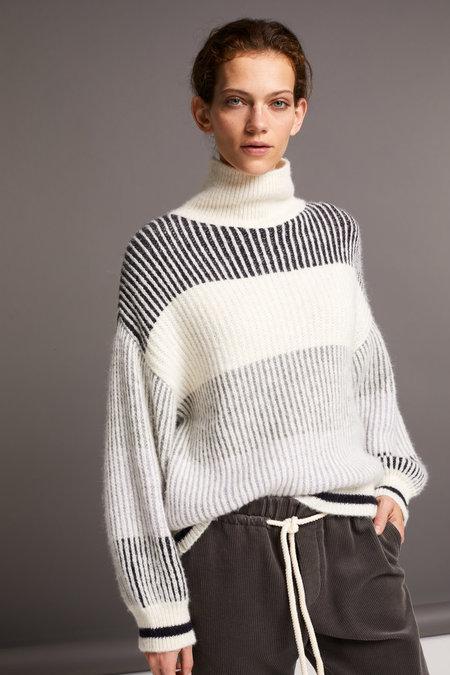 Closed Rib Knit Striped Turtleneck Sweater