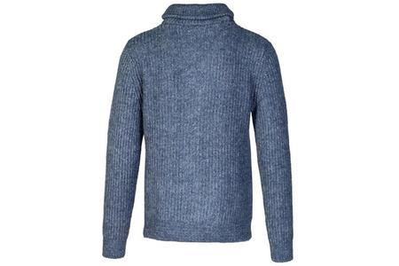 Schott Button Front Shawl Collar Sweater - Blue Heather