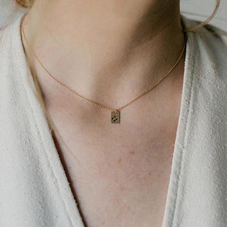 Tumble Square Stamped Necklace - Zia
