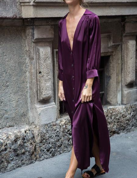 Caftanii Firenze Celine Silk Dress - Burgundy