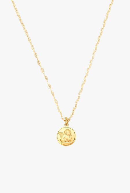 Loren Stewart Mini Angel Pendant Necklace - 14k Gold