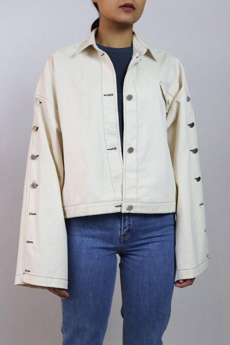 W A N T S Buttoned Sleeves Denim Jacket - Cream