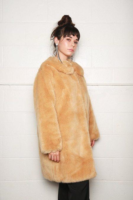 Sara Lanzi Faux Fur Coat - Natural