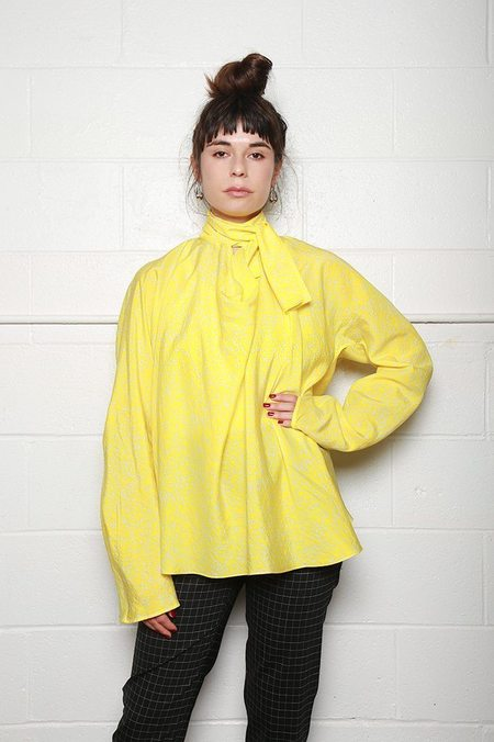 Lemaire Long Sleeve Blouse with Tie - Lemon Yellow/Chalk