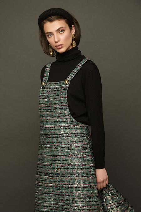 DESERT MANNEQUIN x N-DUO Pinafore tweed mini dress - GREEN