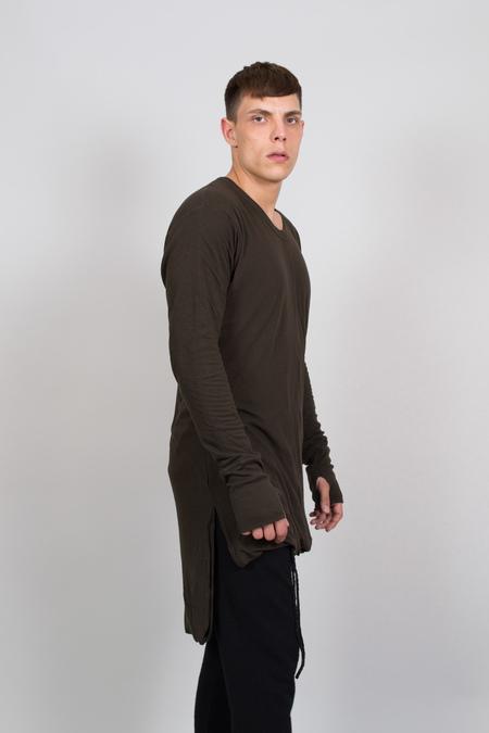 Nude: Masahiko Maruyama Long Body T-Shirt with Back Print - Khaki