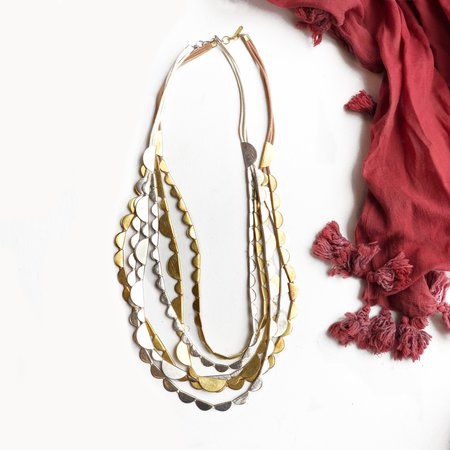 Meus Layered Crescent Necklace