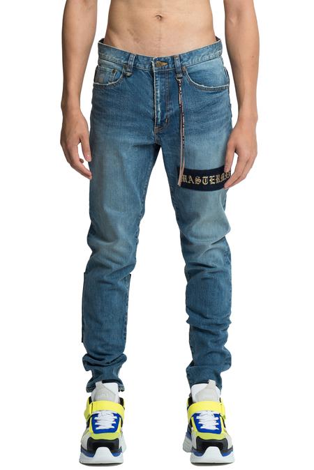 Mastermind World Embroidered Patch Jeans - Indigo