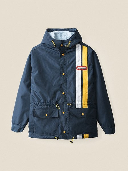 Brain Dead Hooded Racing Jacket - Navy