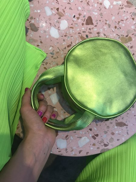 CAB Collection Mini Lisa Circle Bag - Lime Metallic