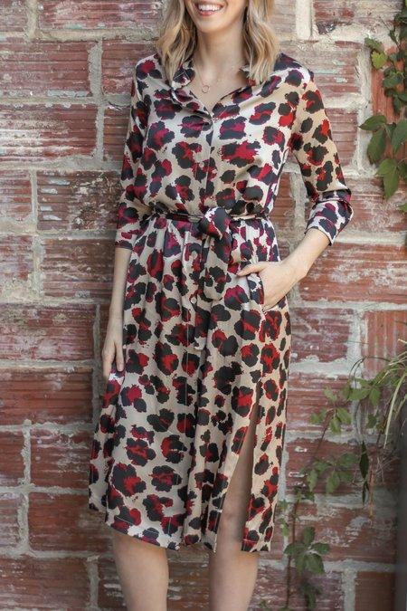 Sway and Cake Lorna Silk Dress - Burgundy Leopard