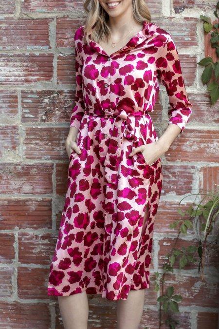 Sway and Cake Lorna Silk Dress - Rose Leopard