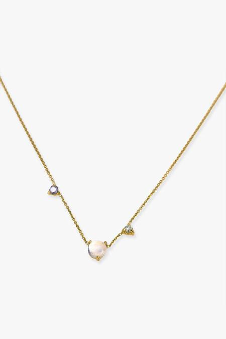WWAKE Three Step Moonstone Necklace - Gold