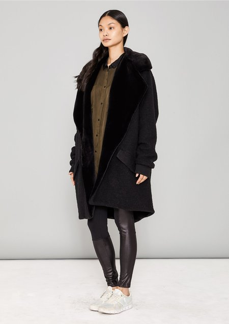 Berenik Wool Blend/Fur Lining Coat - Black