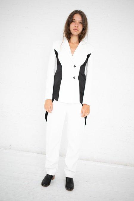 Yulia Kondranina Contrast Side Panel Blouse - Off White/Black