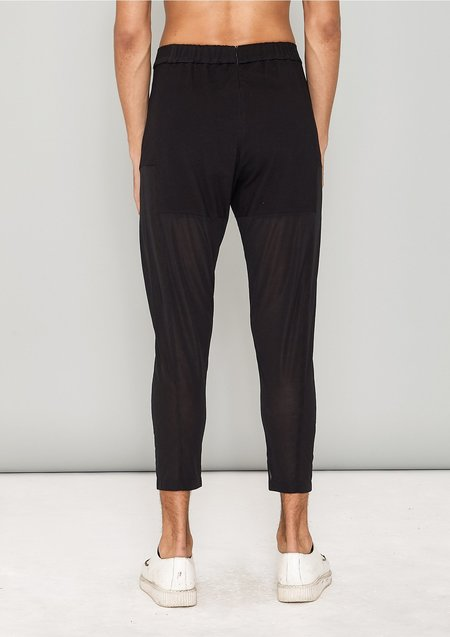 Berenik COTTON JERSEY PATCHWORK PANTS - black transparent/opaque