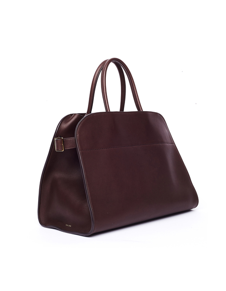 The Row Margaux 15 Saddle Leather Bag - Burgundy
