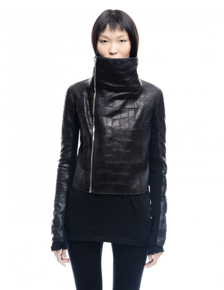 HUN Rick Owens Crocodile and Python Leather Jacket - Black
