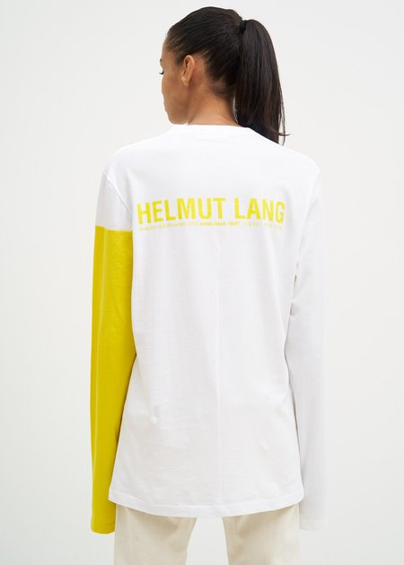 Helmut Lang Band Logo Long Sleeve T-Shirt  - White/Glow