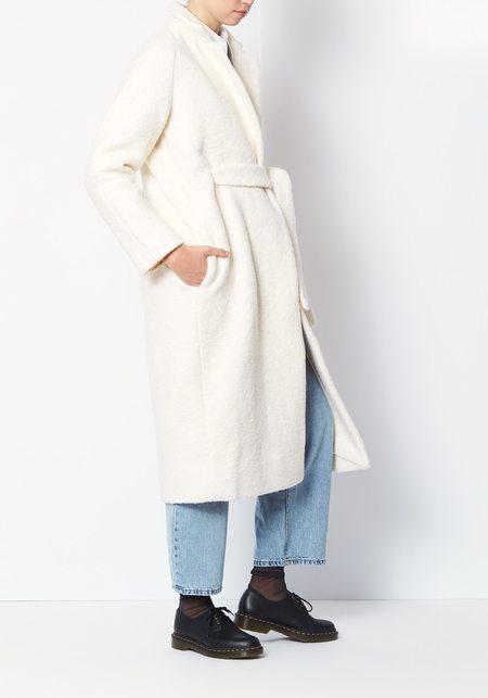 Ganni Egret Fenn Wool Coat - White
