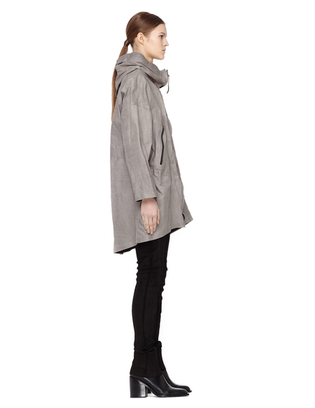 Isaac Sellam Hooded Leather Parka Jacket - Grey