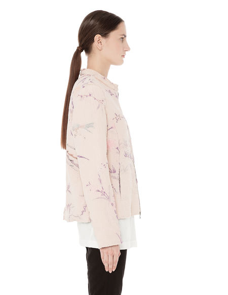 By Walid Bird and flower motif embroidered bomber jacket - Pink