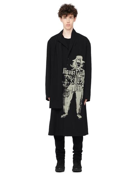 Yohji Yamamoto Printed Wool Coat with Scarf