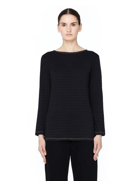 Blackyoto Striped Long Sleeve Cotton Top - BLACK