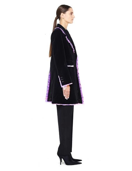 Comme des Garçons  Pink Ruffle Trimmed Padded Velvet Coat - BLACK