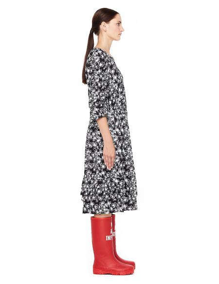 Comme des Garcons Flower-printed Ruffled Dress - black