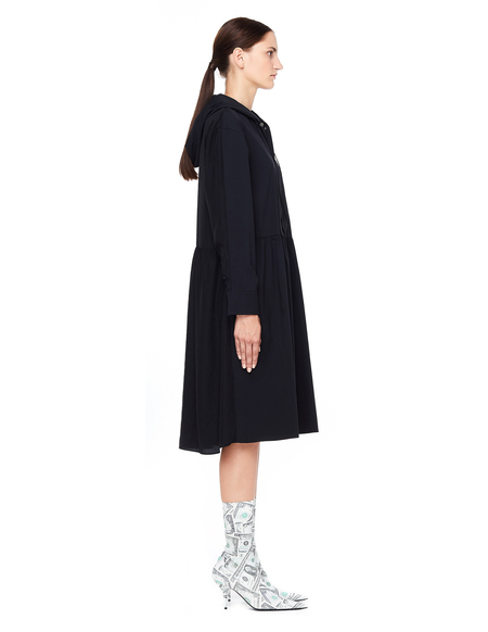 Sue Undercover Hooded Shirt Dress - Black