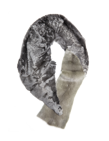 32 Paradis Astrakhan and mink fur scarf - gray