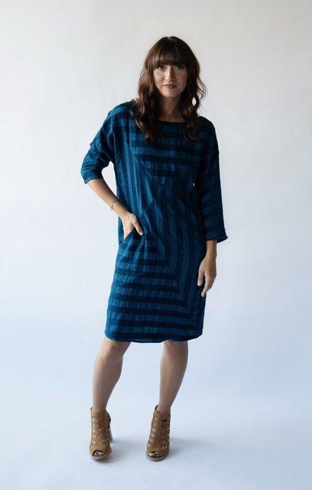 The Odells Shadow Stripe Dress - Blue