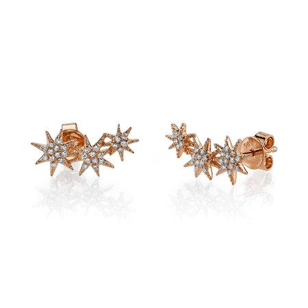 Gabriela Artigas Pave Triple Shooting Star Earrings - Rose Gold