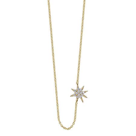 Gabriela Artigas Pave Single Star Necklace - Yellow Gold