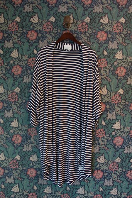 Maison Du Soir Florence Knit Robe - NAVY STRIPE