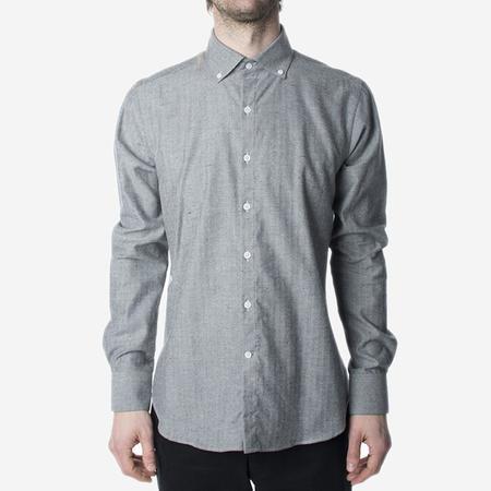 18 Waits The Windsor Shirt - Grey Herringbone Fleck