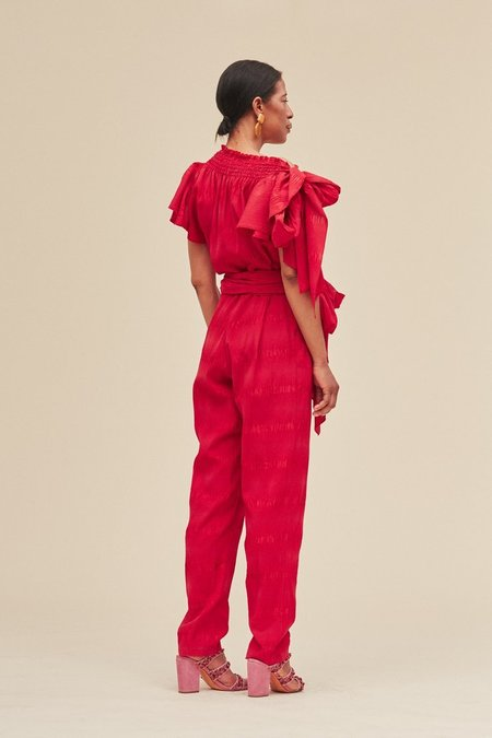 Pied Nu Solid Pucker Stance Jumpsuit - RED