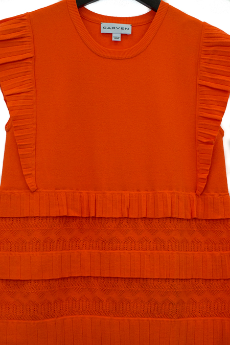 Carven Ribbed Ruffle Tank Top - Coral